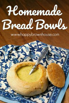 Eat your soup in style with these homemade bread bowls for creamy, thick soups.  These make the perfect addition to soup night. Who knows...you might just impress your mother-in-law. Eat your heart out, Panera. #soup #bread #recipe #recipeoftheday  via @happybrownhouse