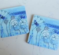 Printed Coaster - Sea Blues £4.00 Print from an original textile painting with free motion embroidery. By Freyelli Textiles