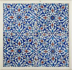 a bathroom tiled backsplash...  Iznik, Turkey (1570s) - Tile Panel