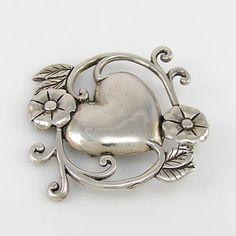 Art Nouveau Sterling Silver Brooch  Love.
