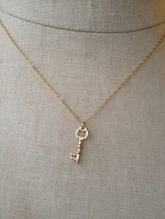 Little Key Necklace, Gold Key, Key To My Heart, Graduation Gift, Housewarming Gift, Dainty Key, Silver Key Necklace, Key Charm, Grad Gift