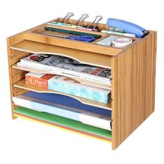 SONGMICS Bamboo File Organizer Paper Sorter with 5 Adjustable Shelves Top Storage Compartments Natural UOFS44Y: Amazon.ca: Gateway