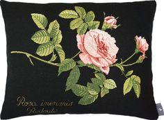 coussin 40x50cm Rosa centifolia - redouté tissé jacquard. Tissé en France par Tissage Art de Lys