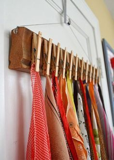 Home diy - The Best DIY Inspiration That Will Keep Your Room Organized And Chic Effortless ways to incorporate shabby chic organization hacks with floating shelves, folding shelves and furniture you can do your Best Closet Organization, Organization Hacks, Closet Hacks, Organizing Ideas, Scarf Holder, Diy Rangement, Clothes Pegs, Hanging Clothes, Diy Scarf