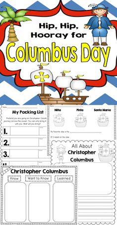 Hip, Hip, Hooray for Columbus Day Kindergarten Social Studies, Social Studies Activities, Teaching Social Studies, Kindergarten Classroom, Kindergarten Activities, Preschool, Columbus School, Columbus Day, First Grade Science