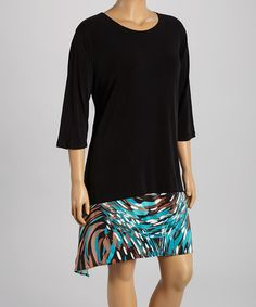 Look what I found on #zulily! Black & Teal Impressionist Block Shift Dress - Plus by DJ Summers #zulilyfinds