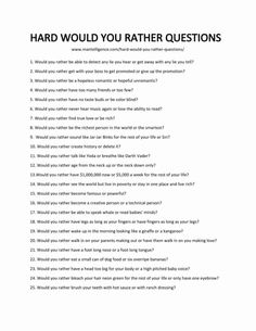 Ask these 79 hard would you rather questions to quickly + humorously start a great conversation. Each is handpicked, hilarious, and hard to answer. Questions To Get To Know Someone, Would You Rather Questions, Fun Questions To Ask, Deep Questions, Getting To Know Someone, Random Questions, Interesting Questions To Ask, This Or That Questions, Truths Questions