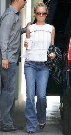 Nicole Richie wearing Christian Louboutin Miss Boxe Wedges, Paige Premium Denim Laurel Canyon Las Palmas Dark Clean With Crease, Tom Ford Yv...