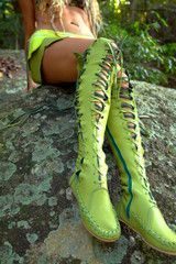 Lime Green Knee High Leather Boots