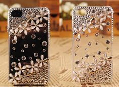 Superior Transparent Crystal Flowers Cover Case for iPhone 5 5s 5c 4 4s