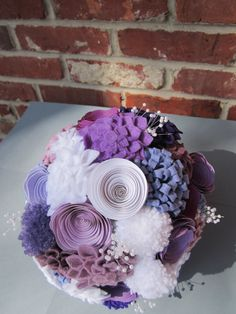 Purple and White  Felt Yarn and Paper by stephaniescraftshop, $100.00