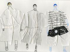 Showstudio: John Booth illustrates Juun J for the men's Paris collections Fashion Sketchbook, Fashion Sketches, Fashion Illustrations, Sketchbook Layout, Sketchbook Inspiration, Csm Sketchbook, Sketchbook Ideas, Journal Inspiration, Moda Fashion
