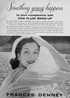 Something young happens to your complexion with Viva Fluid Make-up! #vintage #1950s #beauty #ad