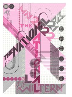 """The National :: By Marian Bantjes the poster is actually 3 posters in one. """"By using Black, Flourescent pink and Glow-in-the-dark inks, I made a poster that would look one way in daylight (above), another way in Black Light (or ultraviolet light)"""" Typography Love, Graphic Design Typography, Lettering, Graphic Posters, Layout Inspiration, Graphic Design Inspiration, Dark Ink, Visual Communication, Pretty Pictures"""