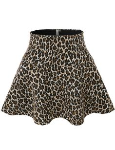 This versatile leopard flared skater skirt is a must to make an amazing outfit. You can wear it in any occasion - school, dates, and parties. Feature - LINING: 100% Cotton; SHELL: 100% Polyester - Lig