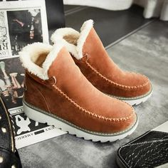 Buy Hot Sale Women Snow Boots Genuine Cowhide Leather Ankle Boots Warm Winter Boots Woman Shoes at Wish - Shopping Made Fun Low Heel Ankle Boots, Brown Ankle Boots, Mid Calf Boots, Low Heels, Stylish Boots, Snow Boots Women, Rind, Ugg Boots, Suede Boots