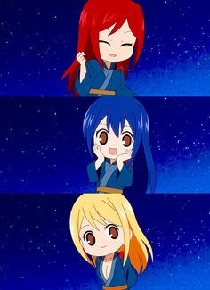 Fairy Tail - Chibi Erza, Wendy, and Lucy Kawaii Chibi, Cute Chibi, Anime Chibi, Manga Anime, Fairy Tail Gray, Fairy Tail Ships, Fairy Tail Anime, Image Fairy Tail, Great Works Of Art