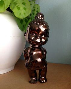 Little black girl figurine, Ceramic, bronze glaze