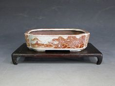 Chinese Inspired Bonsai Pot Japanese Porcelain, Japanese Pottery, Ceramic Art, Ceramic Design, Dwarf Trees, Miniature Trees, Indoor Plants, House Plants, Flower Pots