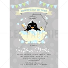 BSB016  Penguin Baby Shower Invitation  Boy Penguin by LeePaperie