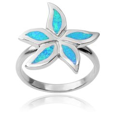 Journee Collection Sterling Silver Faux Opal Flower Ring - Overstock™ Shopping - Top Rated Journee Collection Sterling Silver Rings