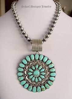 Ondelacy style turquoise cluster signed JWMS (believed to be Navajo artist Julianna Williams) with Rocki Gorman bail