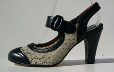 Remix Vintage Shoes, Ginger Slingback & Buckle with Lace Upper in Blue Leather/Ivory Lace