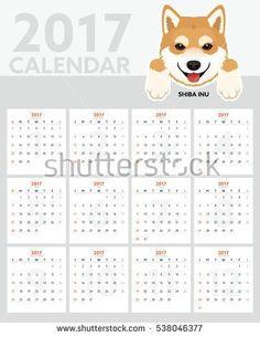 Dog Calendar 2017. Shiba Inu Puppy