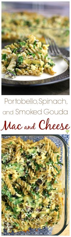 HEALTHY! Portobello, Spinach, and Smoked Gouda Mac and Cheese from EricasRecipes.com