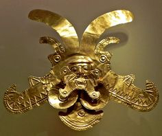 A gold mask in the Gold Museum, Bogota, Colombia.