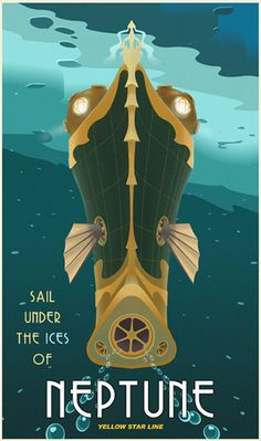 Sail Under the Ices of Neptune! -- Faux travel poster