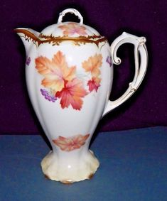 Antique Bavarian Porcelain Chocolate Pot, Gold Gilt Trim,Grapes & Maple Leaves - Fall Autumn theme china - Could be used as a teapot / coffee pot