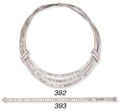 Christie's  CARTIER A DIAMOND LINE BRACELET, BY CARTIER  Set with forty-nine rectangular-cut diamonds, mounted in platinum, 6 7/8 ins., in a Cartier leather case
