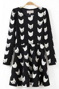Cat Long Sleeve A-line Dress
