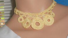 Available at Captola at Etsy.com Crochet circle necklace yellow
