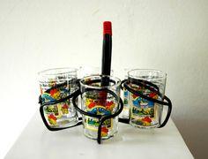 Vintage Antique Mid Century European German Set of 6 Wine Tasting Glasses/ Shot Glass/Schnapps Glasses with Stand/Holder/Rack