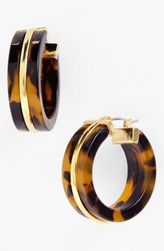 Lauren Ralph Lauren Faux Tortoiseshell Hoop Earrings available at #Nordstrom