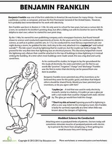 Benjamin Franklin Biography Worksheet
