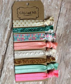 Christmas Gift. Mint Silver and Gold Hair Ties , Multi colored Hair ties. Emi-Jay.