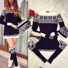 Compleu dama de zi din tricot alcatuit din rochie+caciula+jambiere cu model Craciun