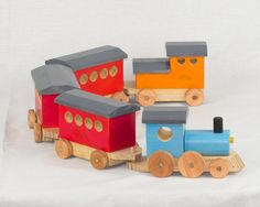 Wooden Toy Train Set Passenger Train Set. by TheWarawoodShed