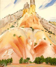 "Georgia O'Keefe ""The Cliff Chimneys"" 1938 (Milwaukee Art Museum, Wisconsin) Alfred Stieglitz, Georgia O'keeffe, Santa Fe, Pablo Picasso, New Mexico, Georgia O Keeffe Paintings, Pop Art, Sun Prairie, Milwaukee Art Museum"