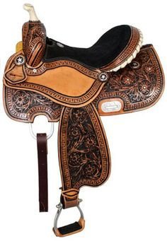 Double T Fully Tooled Barrel Saddle With Black Inlay