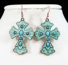 Cowgirl Bling TURQUOISE PATINA COPPER CROSS EARRINGS Christian Gypsy Southwest our prices are WAY BELOW RETAIL! all JEWELRY SHIPS FREE! www.baharanchwesternwear.com baha ranch western wear ebay seller id soloeditio