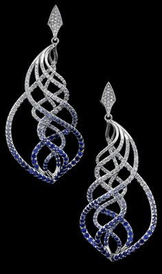 The Do-Re-Mi Earrings include a stunning color gradient of more than 450 pavé set gemstones, from royal blue sapphires to white diamonds. Wave Jewelry, Jewelry Art, Jewelry Design, Fashion Jewelry, Vintage Jewellery, Fashion Goth, Sapphire Jewelry, Diamond Jewelry, Diamond Bracelets