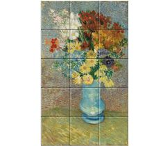 Flowers in a blue Vase Vincent van Gogh - around June oil on canvas, Kroller Muller Collection Vincent Van Gogh, Vase, Decorative Tile, Art Reproductions, Oil On Canvas, Poster, Museum, Ceramics, Sculpture
