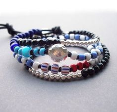 Blue wrap bracelet African trade bead jewelry Friendship bracelet with an Artist silver button on Etsy, $76.75