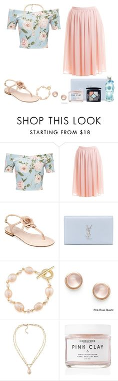 """Miss Selfridge Blue Floral Bardot  Crop Top"" by akgsteeler ❤ liked on Polyvore featuring Miss Selfridge, Marc Fisher, Yves Saint Laurent, Carolee, Kabella Jewelry, Herbivore Botanicals and Christian Dior"