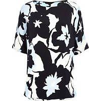 Blue oversized floral print split back top
