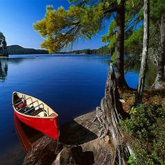 18 Iconic Images of Canada: This Country's Beauty Will Astonish You.: Canoe at Lake Opeongo, Algonquin Provincial Park, Ontario Canoe Camping, Canoe Trip, Canoe And Kayak, Ontario Provincial Parks, Ontario Parks, Autumn Lake, Algonquin Park, Visit Canada, Kayaking